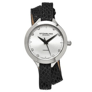 Stuhrling Original Women's Swiss Quartz Vogue Diamond Black Slim Double Leather Strap Watch
