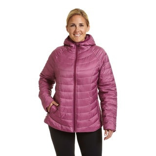 Champion Women's Plus Size Featherweight Black/Grey/Pink Polyester Insulated Hoodie Jacket