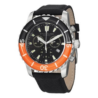 Stuhrling Original Men's Swiss Quartz Aquadiver Chronograph Black Canvas Strap Watch