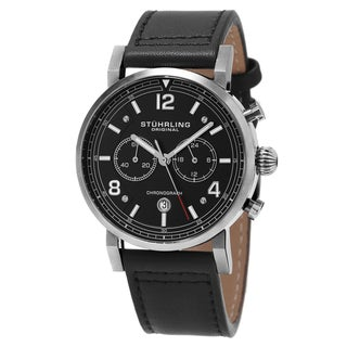 Stuhrling Original Men's Quartz Chronograph Aviator Black Leather Strap Watch