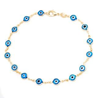 Link to Gold-plated Aqua Crystal Evil Eye Ankle Bracelet Similar Items in Bracelets