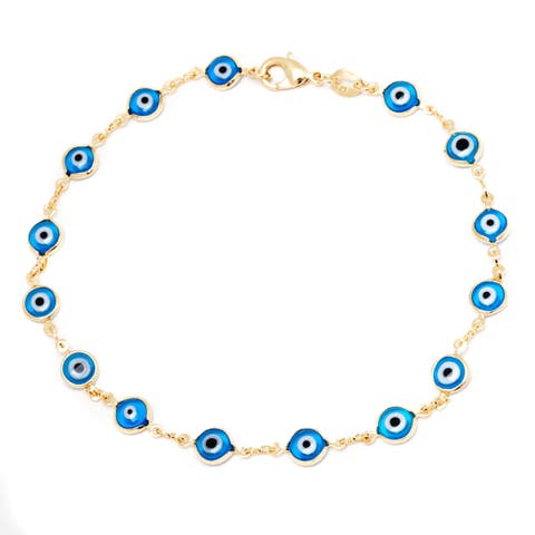 Gold-plated Aqua Crystal Evil Eye Ankle Bracelet