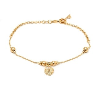 Peermont Jewelry Goldplated Heart Lock and Key Charm Ankle Bracelet
