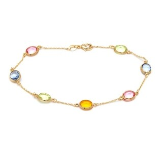 Goldplated Gold and Multi-color Crystals Round Ankle Bracelet