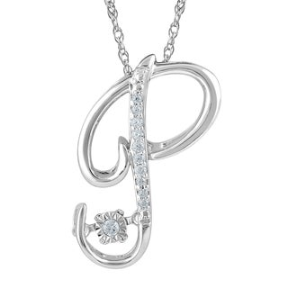 Sterling Silver 'P' Initial Diamond Accented Pendant Necklace