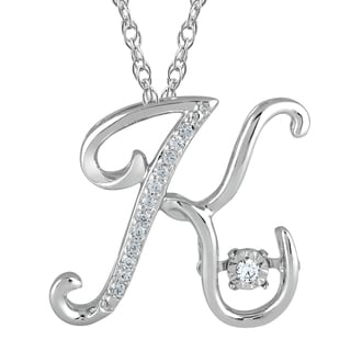 Sterling Silver 'K' Initial Diamond Accented Pendant Necklace