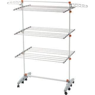 White/Orange Stainless Steel Premium Clothes Drying Rack