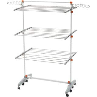 idee PDR12E Premium Foldable 8-wheeled Clothes Laundry Drying Rack with Stainless Steel Hanging Rods|https://ak1.ostkcdn.com/images/products/12520469/P19325783.jpg?impolicy=medium