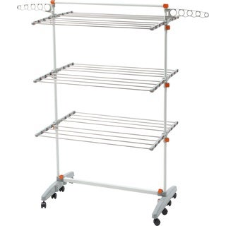 idee PDR12E Premium Foldable 8-wheeled Clothes Laundry Drying Rack with Stainless Steel Hanging Rods