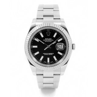 Pre-Owned Rolex Men's Stainless Steel and 18k White Gold Datejust II Watch with Black Index Dial