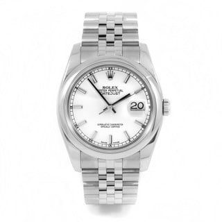 Pre-Owned Rolex Men's Stainless Steel New Style Datejust with White Index Dial and Smooth Bezel