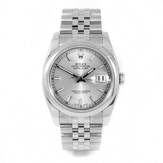 Pre-Owned Rolex Men's Stainless Steel New Style Datejust with Silver Index Dial and Smooth Bezel