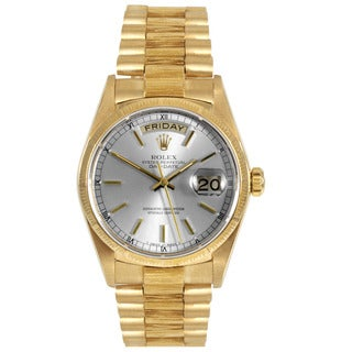 Pre-Owned Rolex Men's 18k Yellow Gold Bark President with Silver Stick Dial and Fluted Bezel