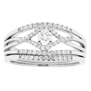 Sofia 14k White Gold 1/2ct TDW Round Diamond Bridal Set IGL Certified Ring (H-I, I1-I2)