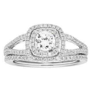 Sofia 14k White Gold 1ct TDW Round Diamond Bridal Set IGL Certified Ring (H-I, I1-I2)