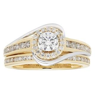 Sofia 14k Yellow and White Gold 1ct TDW Round Diamond Bridal Set IGL Certified Ring (H-I, I1-I2)