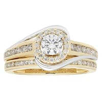 Sofia 14k Yellow and White Gold 1ct TDW Round Diamond Bridal Set IGL Certified Ring