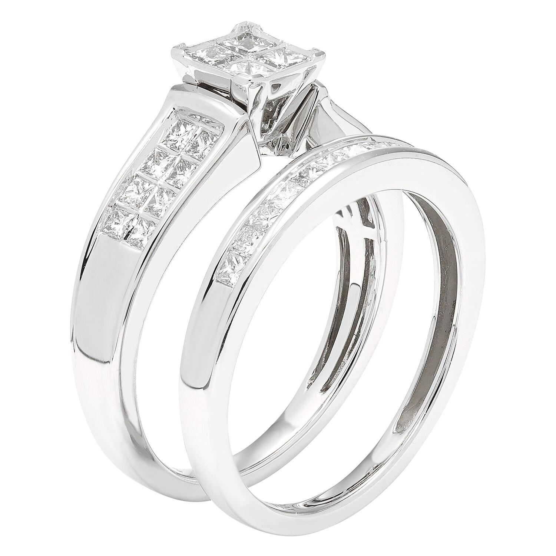 Sofia 14k White Gold 7 8ct TDW IGL Certified Princess cut Diamond