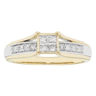 Sofia 10k Yellow and White Gold 1/3ct TDW Diamond Ring (H-I, I1-I2)