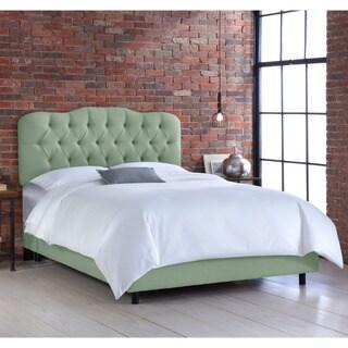 Skyline Swedish Blue Tufted Linen Bed