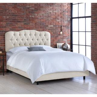 Skyline Tufted Talc Linen Bed
