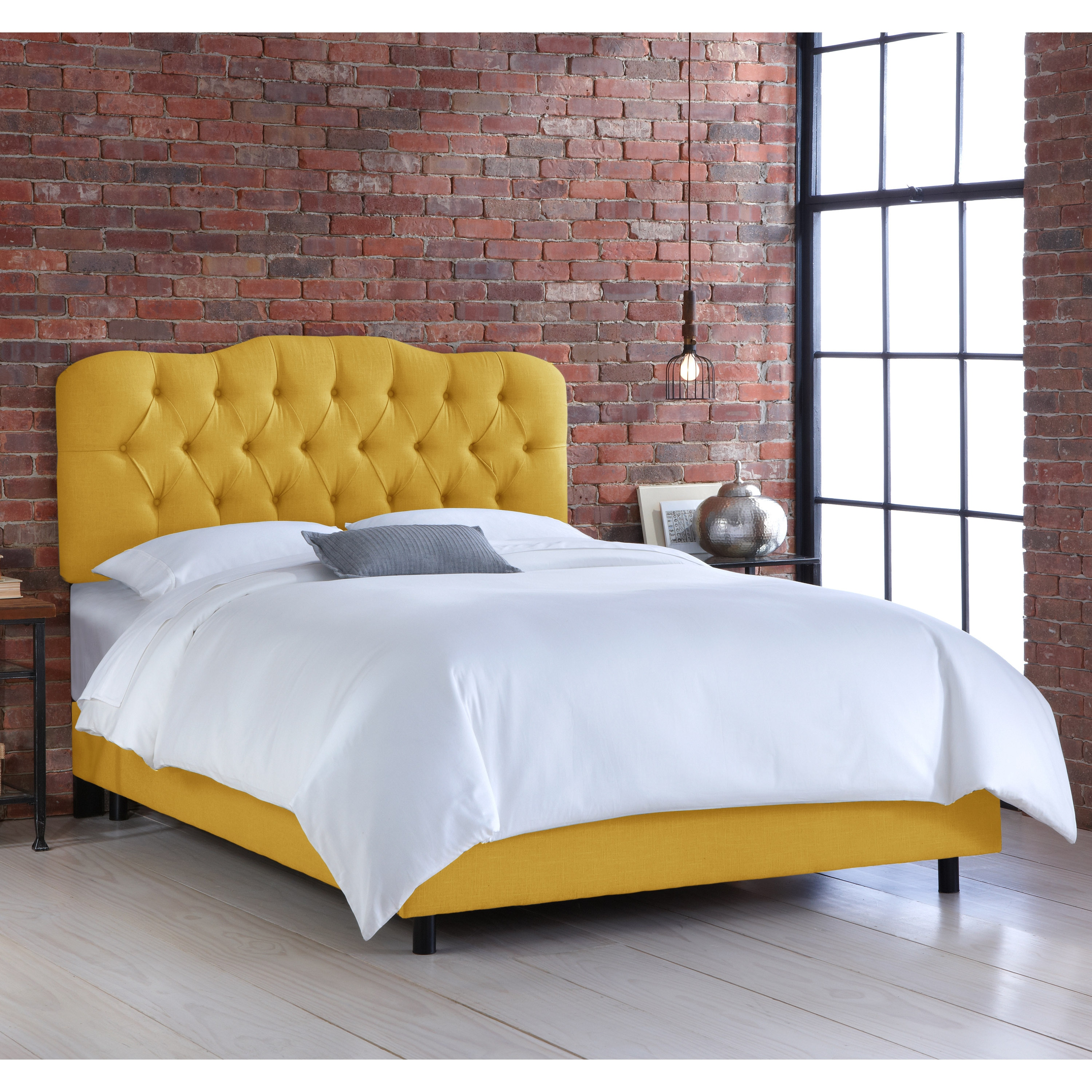 Skyline Camo French Yellow Tufted Linen Bed (California K...