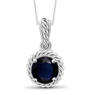 Jewelonfire Sterling Silver 1.2-carat Sapphire Gemstone Pendant