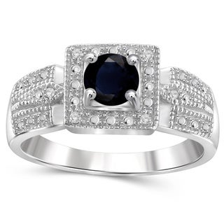 Jewelonfire Sterling Silver Sapphire Gemstone and White Diamond Accent Ring
