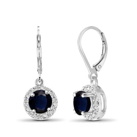 Jewelonfire Sterling Silver Gemstone & Diamond Accent Halo Earring