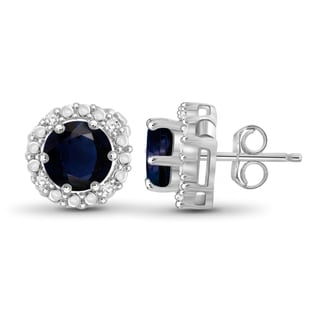 Jewelonfire Sterling Silver Sapphire Gemstone and White Diamond Accent Halo Earring