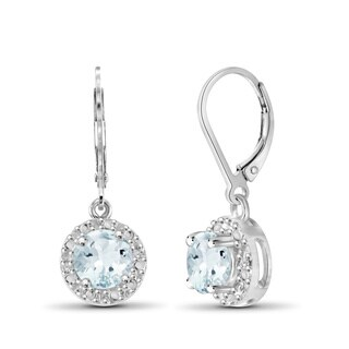 Jewelonfire Sterling Silver Aquamarine Gemstone and Diamond Accent Halo Earring