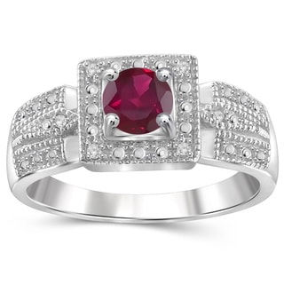 Jewelonfire Sterling Silver Ruby Gemstone and White Diamond Accent Ring