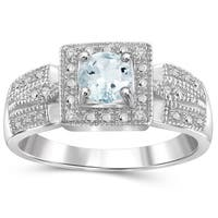 Jewelonfire Sterling Silver Aquamarine Gemstone and White Diamond Accent Ring