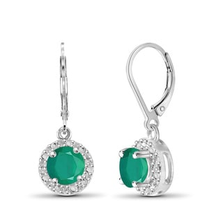 Jewelonfire Sterling Silver Emerald Gemstone and Diamond Accent Halo Earring