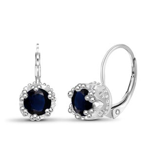 Jewelonfire Sterling Silver 1.70-ctw Sapphire Gemstone Crown Earring