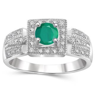Jewelonfire Sterling Silver Emerald Gemstone and White Diamond Accent Ring