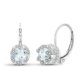 Jewelonfire Sterling Silver 0.9-ctw Aquamarine Gemstone Crown Earrings