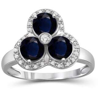 Jewelonfire Sterling Silver Sapphire Gemstone and White Diamond Accent 3-Stone Ring