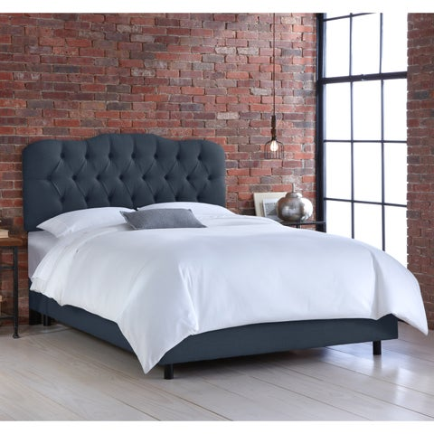 Skyline Tufted Navy Linen Bed