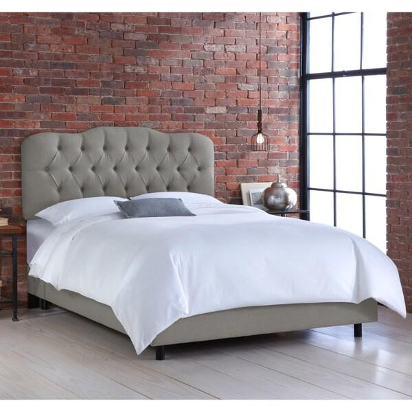 Skyline Grey Tufted Linen Bed