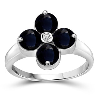 Jewelonfire Sterling Silver Sapphire Gemstone and Diamond Accent Clover Ring