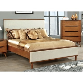 Furniture of America Corrine II Mid-Century Modern Upholstered King-size Platform Bed