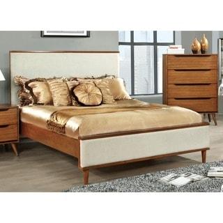 Furniture of America Corrine II Mid-Century Modern Upholstered King-size Platform Bed