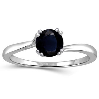 Jewelonfire Sterling Silver Sapphire Gemstone Solitaire Ring