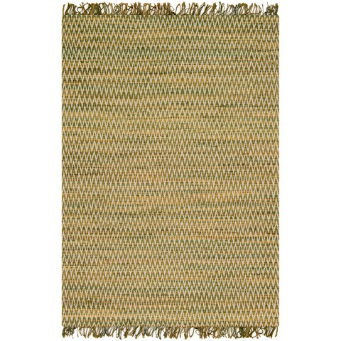 Hand-woven Reed Earth-tone Chevron Fringe Rug (3'6 x 5'6)