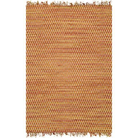 Alexander Home Hand-woven Chevron Stitch Jute Fringe Rug