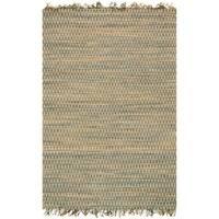Hand-woven Reed Earth-tone Chevron Fringe Rug (3'6 x 5'6)