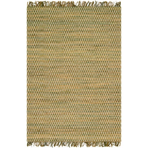 Hand-woven Reed Earth-tone Chevron Fringe Rug (5'0 x 7'6)
