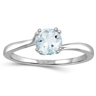 Jewelonfire Sterling Silver 0.45-ctw Aquamarine Gemstone Solitaire Ring