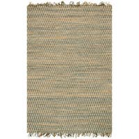 Hand-woven Reed Earth-tone Chevron Fringe Rug (7'9 x 9'9)